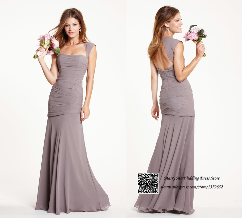 Light Brown Cap Sleeve Open Back Long Bridesmaid Dress