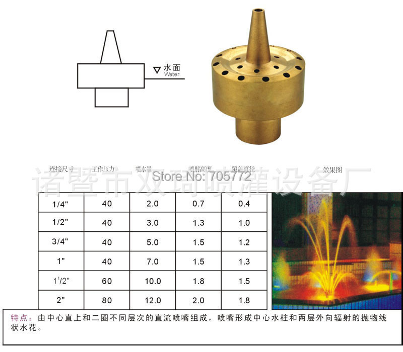 1.5 inch inches brass fountain nozzle water pool music landscape sprinkler - WaterAmusement Supermarket store