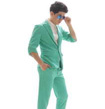 Buy Plus size fashion casual men slim soild green custom made suits jacket male singer DJ ds performance stage costume clothing set for $105.00 in AliExpress store