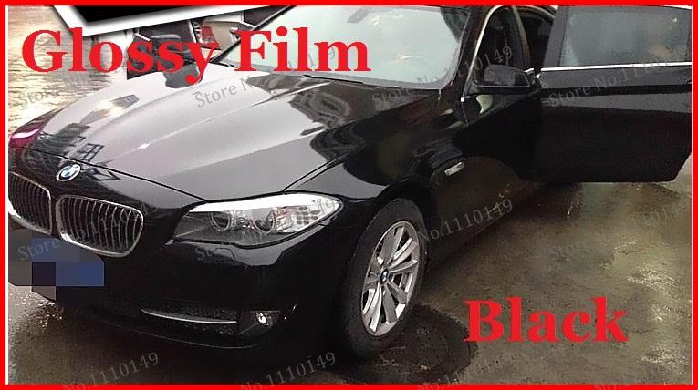 1 pc 1.52MX50CM Black Glossy vinyl film bright Glossy car warp sticker with bubble free FREE SHIPPING(China (Mainland))