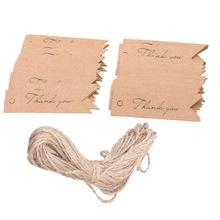 100pcs Thank you Letter Kraft Paper Wedding Favor Gift Hang Label Luggage Tags with String DIY Kraft Gift Hang tag(China (Mainland))