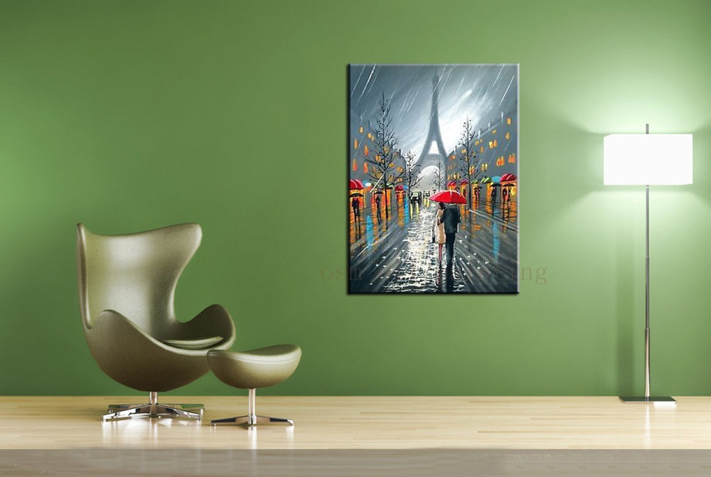 Handmade Abstract Fine Art Paris Downpour Red Umbrella Eiffel Tower Couple Love Rain Handpainted Streetscape Canvas Oil Painting(China (Mainland))