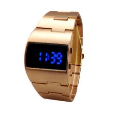 New Fashion Digital Men Full Steel Led Watch ,Sport Watches Men Military Watches Metal LED Faceless Bracelet Watch Wristwatch
