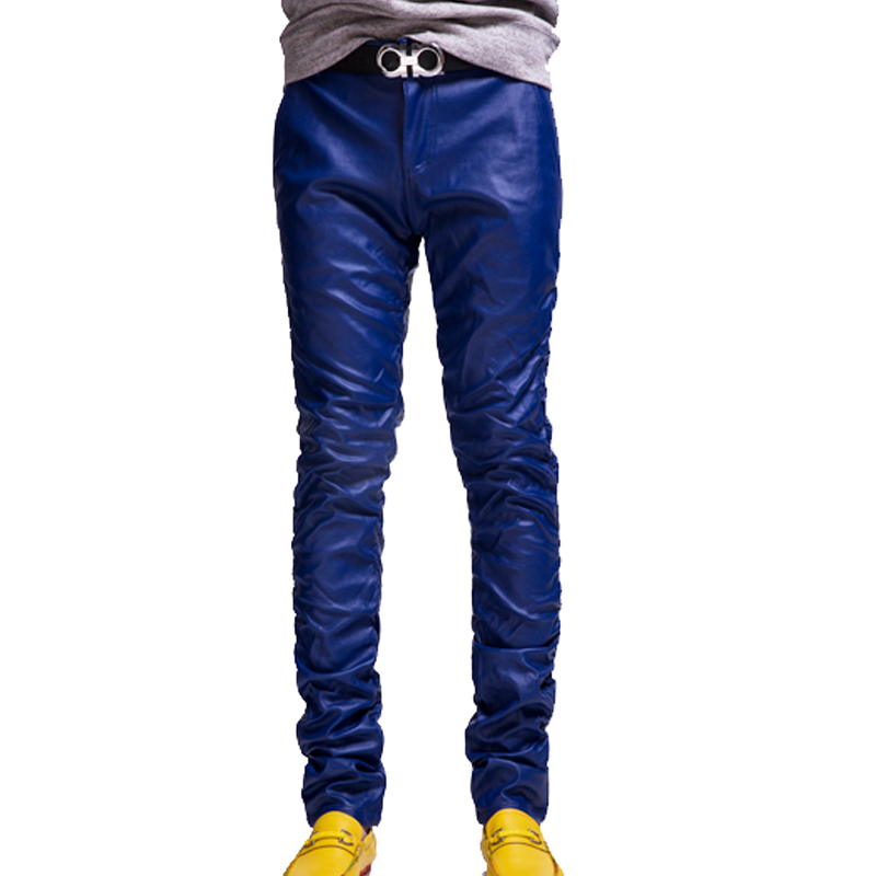 New Fashion Male Red Blue White Colorized Trousers Skinny Pencil Pants Slim Pleated PU Men Leather Pants(China (Mainland))