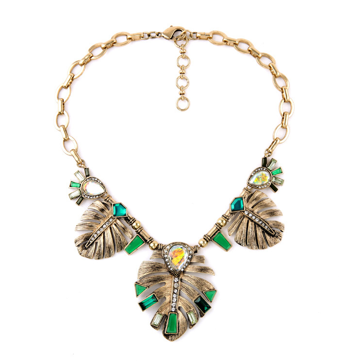 Fashion Leaf Choker Necklace 2015 Antique Gold Plated Wholesale Women Green Vintage Necklace Designer <br><br>Aliexpress