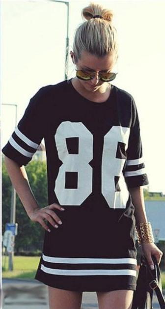 2016 Summer Women Celebrity 86 Printed Vestidos American Baseball T Shirt Top Short Sleeve Mini Casual Dress vestido P0792(China (Mainland))