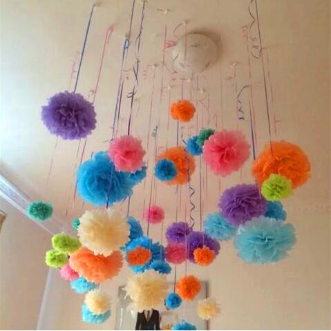 (10cm,15cm,20cm) 45pcs Mixed Size Tissue Paper Pom Poms Artificial Flowers Balls Birthday Wedding Decoration Kids Party Supplies(China (Mainland))