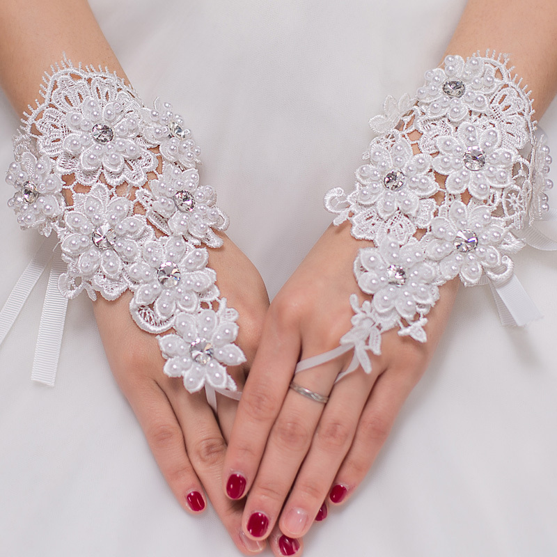 Free Shipping Bride Wedding Party Dress Fingerless Rhinestone Lace Bridal Gloves Beaded Wrist Gloves