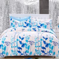 40S Cotton Bedding Sets Queen  Duvet Covers Set, Blue White Printing activity Bed Set set linens bedclothes #CM4882