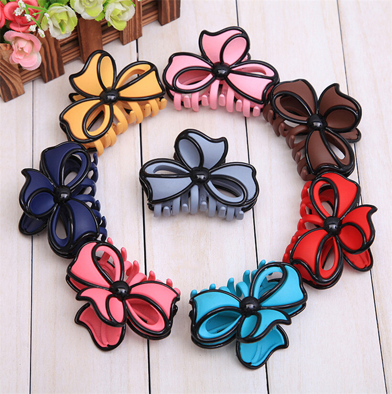 6 PCS Colorful Large Hair Claw Clips for Women Fashion Ladies Bowknot Shape Plastic Hair Accessories FJ15003P(China (Mainland))
