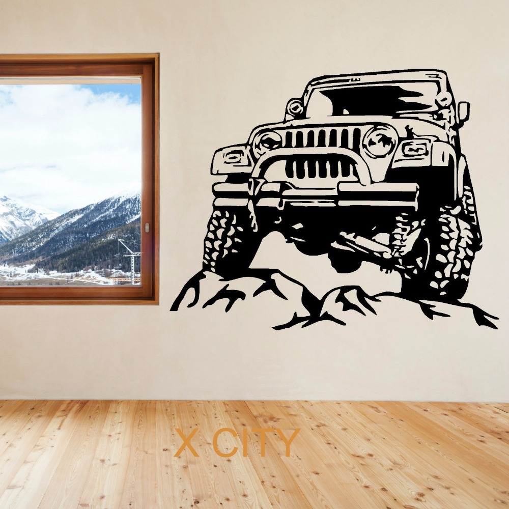 VINTAGE SUV CAR All Terrain Vehicle WALL ART STICKER VINYL TRANSFER DECAL DOOR WINDOW ROOM STENCIL MURAL DECORATION S M L(China (Mainland))
