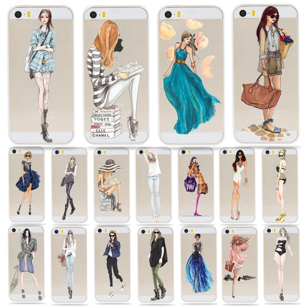 Fashion Dress Girl Picture back cover silicone plastic soft/hard shell carcasa for apple Iphone 5 5s se cell phone cases coque(China (Mainland))