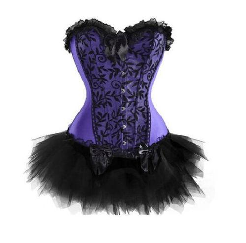 Purple Sexy Women Corset & Tutu Set Dancer Fancy Dress Clubwear Costume S-XXL(China (Mainland))