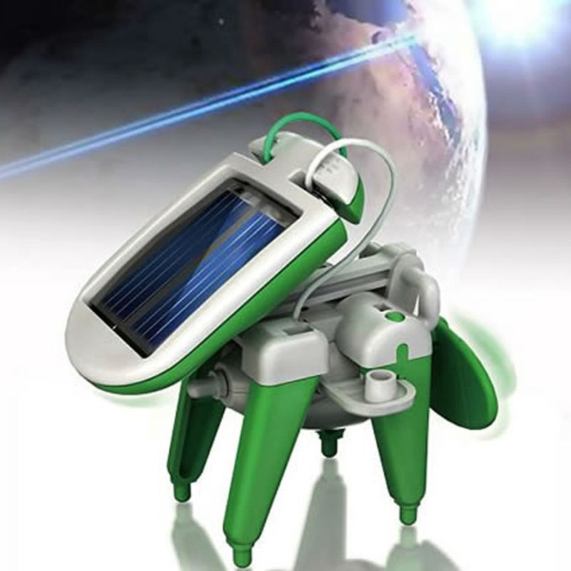Hot Sale 6 in 1 Green Solar Power Robot Toy Change to Dog Coolfan Car Boat For Kids Education Toys Christmas Birthday Gift(China (Mainland))