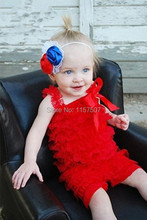 Fashion 4th of July Red Baby Girls Lace Petti Ruffle Rompers Baby Girls Clothes with Straps for 0-3 Year Old ( pick your color)(China (Mainland))