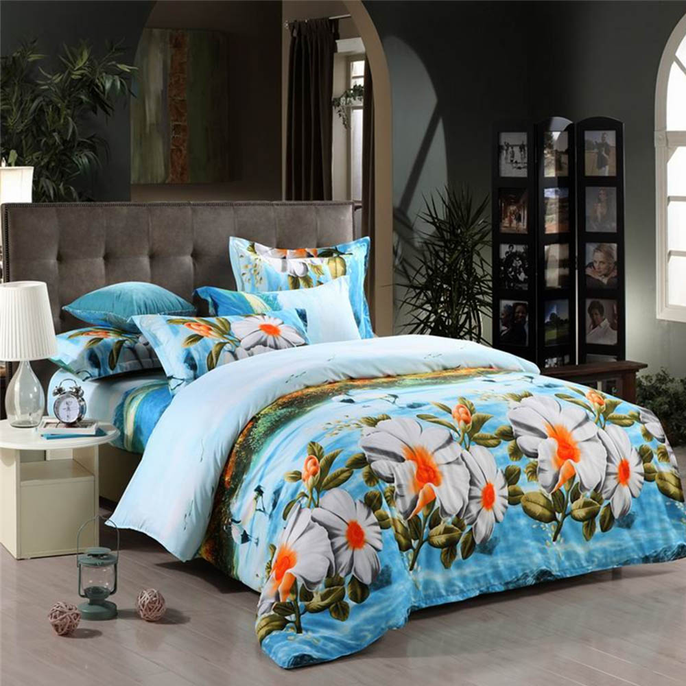 2015 sale comforter luxury mingjie happy day white flowers for Queen size bed sets for sale