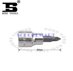 PRETTY 5Pcs 3/8-Inch Drive 1# Steel PhillipsScrewdriver Bit Socket 48mm Long*