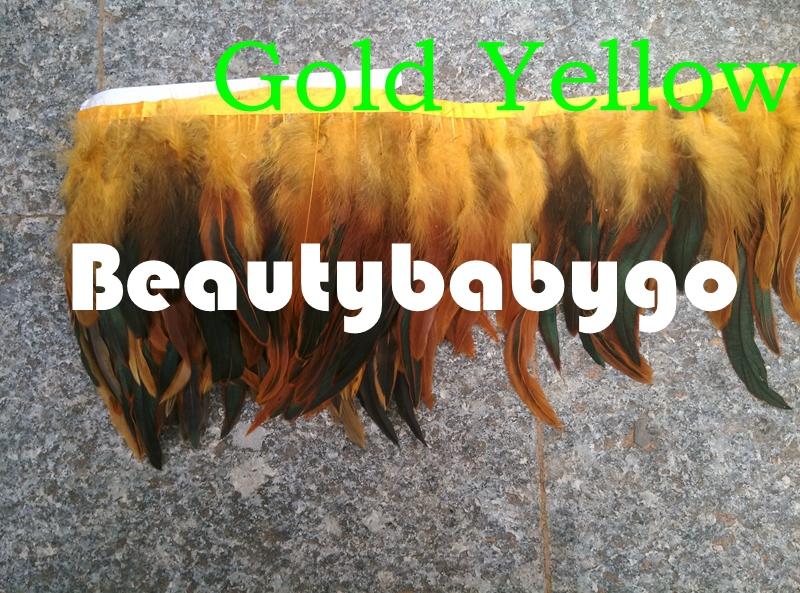 Завод продаж! 10 м золото желтый коке петух хвост перо fringe, перо петуха обрезки 4 - 6 дюймов
