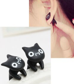 Blue Kiss E23 The 2015 New Vintage Black Stereoscopic Cute Cats Earrings For Women(China (Mainland))