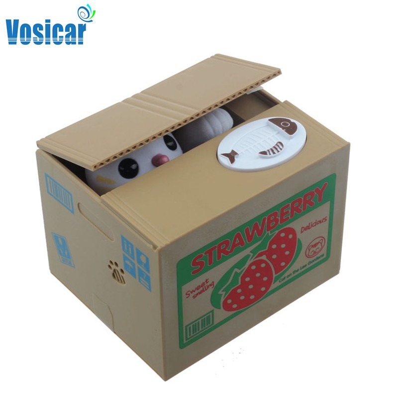 Vosicar 2015 Hot Sale Money Saving Box Automated Cat Steal Coin Bank Piggy Bank Gifts(China (Mainland))