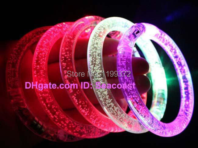 50pcs/lot Many Colors LED Lights Funny Toys wrist Flash Blink Blinking Color Changing Light Party Fluorescence Club Stage Bracel(China (Mainland))