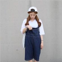 Knee Length Denim Shorts Women Vintage Denim Overalls Jeans Dark Blue Wash Bib Pants Jumpsuit Summer