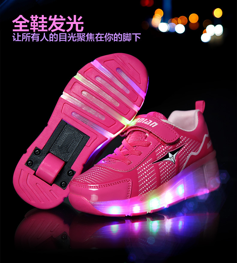 2016 New Children Roller Shoes Boy & Girl Automatic LED Lighted Flashing Roller Skates Kids Fashion Sneakers With Wheel HOT(China (Mainland))