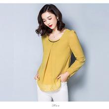camisetas de lentejuelas Womens Tops Fashion 2016 Chiffon Blouse Plus Size Ruffle Long Sleeved Casual Shirt Black White Red Blue