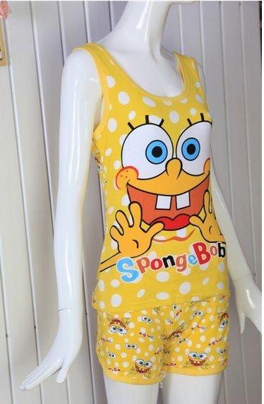 Spongebob pajamas,No sleeves Summer knitted pyjamas,Homewear,cartoon Sleep sets,Loungewear,Women's Underwear.CT032