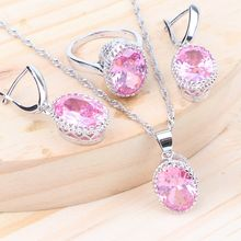Bridal Silver 925 Jewelry Sets Women Cubic Zirconia Wedding Costume Jewellery Kids Ring Earrings With Stone Necklace Pendant Set(China)