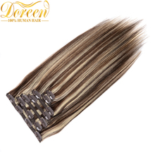 Buy Doreen 120G Brazilian Remy Human Hair Mix Color #4/613 Clip Human Hair Extensions Full Head Set 7 Pecs Straight 14-24 Inches for $44.80 in AliExpress store