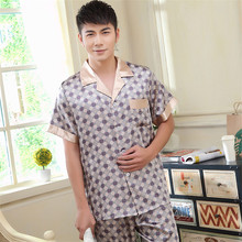 Pajamas men Short Sleeve Long Pants Summer Plus Size Youth Wholesale Price mens Silk pajamas Sets Pijama Homewear L XL XXL(China (Mainland))