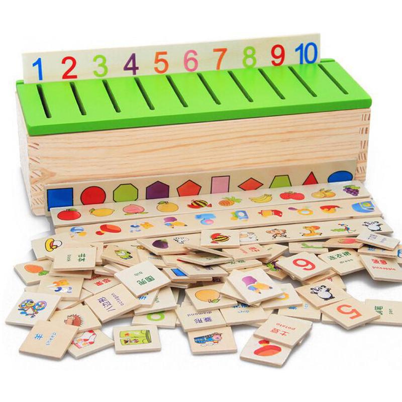 Бесплатная Доставка Монтессори Matemática Знания Классификация Коробка Монтессори Материалы Узнать шашки Игрушки для Детей в Деревянной