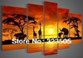 Abstract modern large 5 piece canvas wall art deco African Art picture handpainted oil painting sets