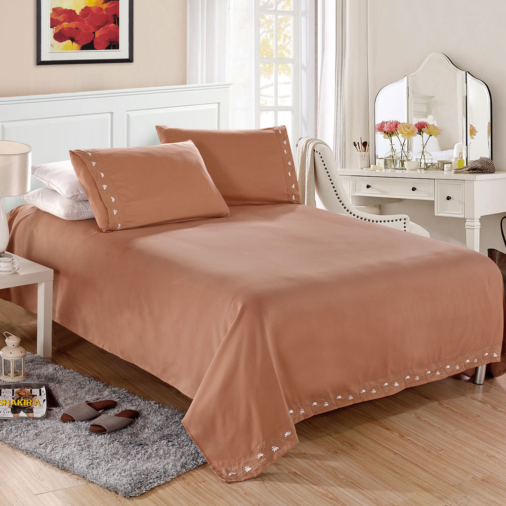 Home Textile Satin Silk Bed Sheet Set Solid Bedding Set 4 Pcs Flat Sheet Fitted Sheet Pillowcase King Queen Twin Full Size(China (Mainland))