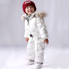 Baby Winter Coats White Duck down Rompers with Fur Collar Boys and Girls Winter Down Jacket suit Kids Parkas Clothing set(China (Mainland))