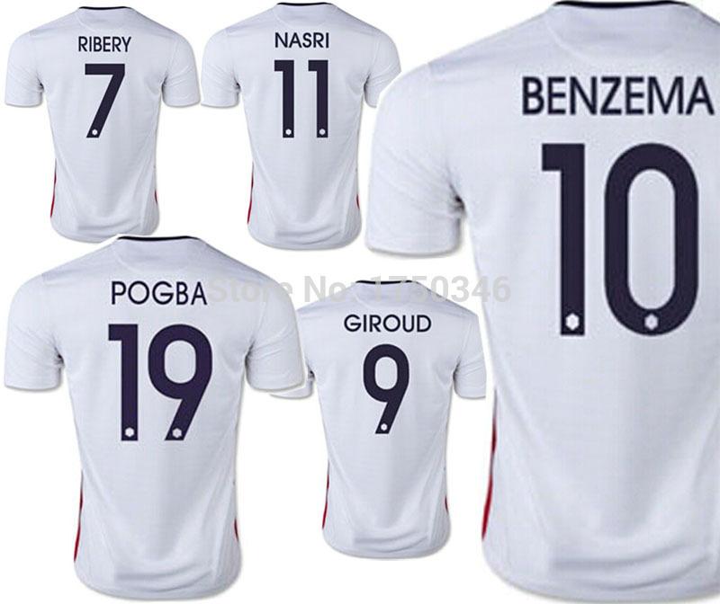 2015 French Soccer Jersey 15 16 New France Jersey National Team Football Shirt Away White BENZEMA NASRI RIBERY ZIDANE GIROUD(China (Mainland))