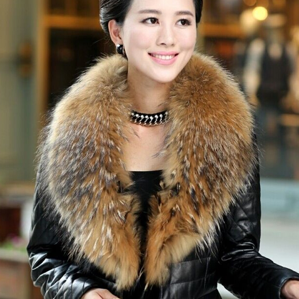 Unisex fluffy genuine raccoon fur shawl collar for winter coat women and men's fur neck wear real fur collar scarves(China (Mainland))