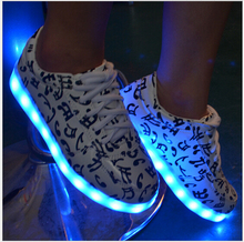 2016 Colorful Glow Luminous Led Shoes Yeezy Basket Femme Unisex USB Rechargeable Light For Men Flat Shoes lace-up PU shoes(China (Mainland))