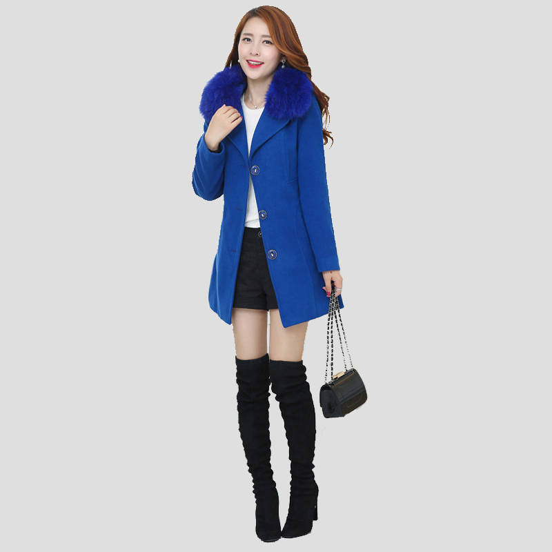 new fashion women winter coat with fur collar wool long coat female blends jacket brand warm top quality coats clothing(China (Mainland))