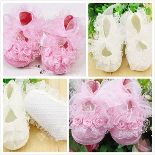 Details about Baby Newborn Infant Cute Crochet Lace Flower Princess Shoes 0 13M Prewalker Boot