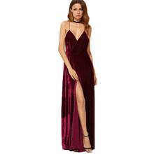 COLROVIE בורגונדי קטיפה מקסי ללא משענת שמלת נשים סתיו מסיבת שמלות V העמוק צוואר ארוך אלגנטי שמלת חדש רצועות לעטוף שמלה(China)