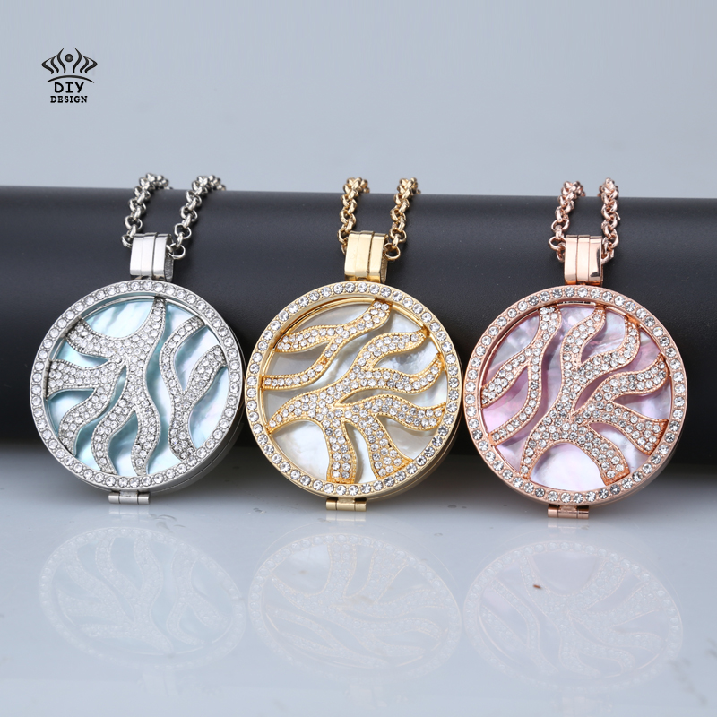 sale High-grade my 35mm coin holder necklace pendant stainless steel rose gold silver coral 33mm coins shell fit 80cm chain(China (Mainland))