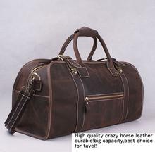100% Crazy horse Genuine men Leather travel bag,big luggage bag,Vintage men Leather handbag men's leather Boston bag fast post(China (Mainland))
