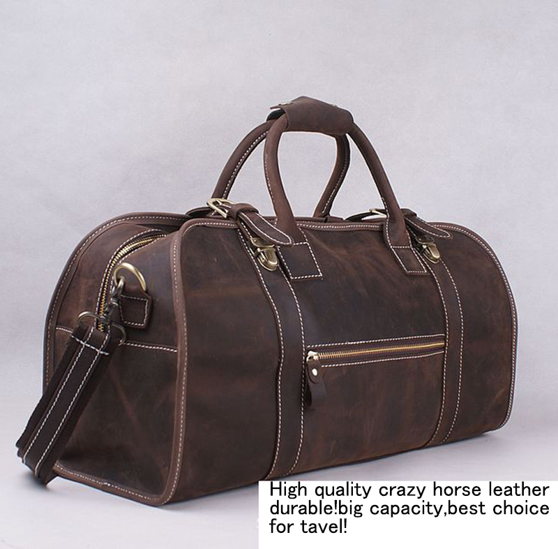 Men's Crazy horse Genuine Leather travel bag big luggage bag Vintage Cow Leather handbag men's leather Boston bag Travel duffle(China (Mainland))