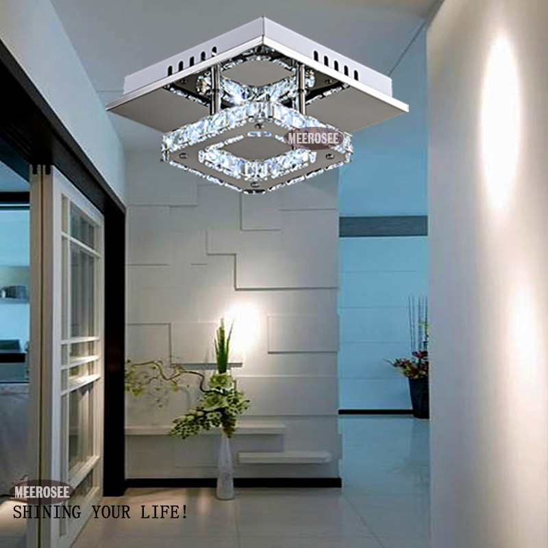 Square Led Crystal Chandelier Light For Aisle Porch Hallway Stairs - Modern-white-interior-house-in-kharkov-by-vladimir-latkin