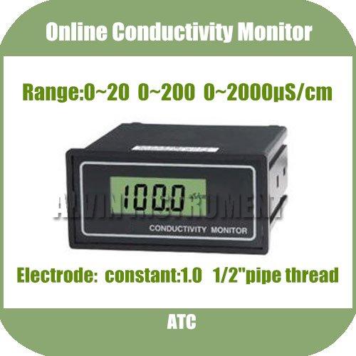 Free Shipping Online Conductivity Monitor Tester METER Analyzer 0-2000us/cm Error:2%F.S ATC