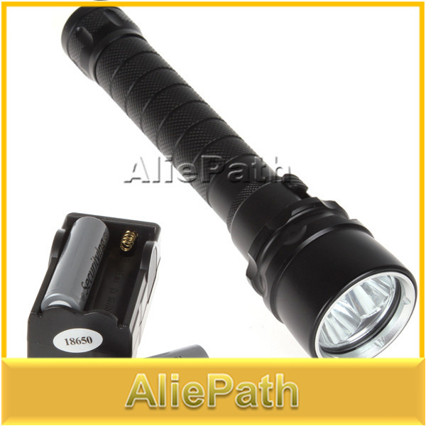 4000 Lumen 30W 3X CREE XML T6 LED Diving Flashlight Torch 100M Underwater Waterproof LED Flash Light + 18650 Battery + charger(China (Mainland))