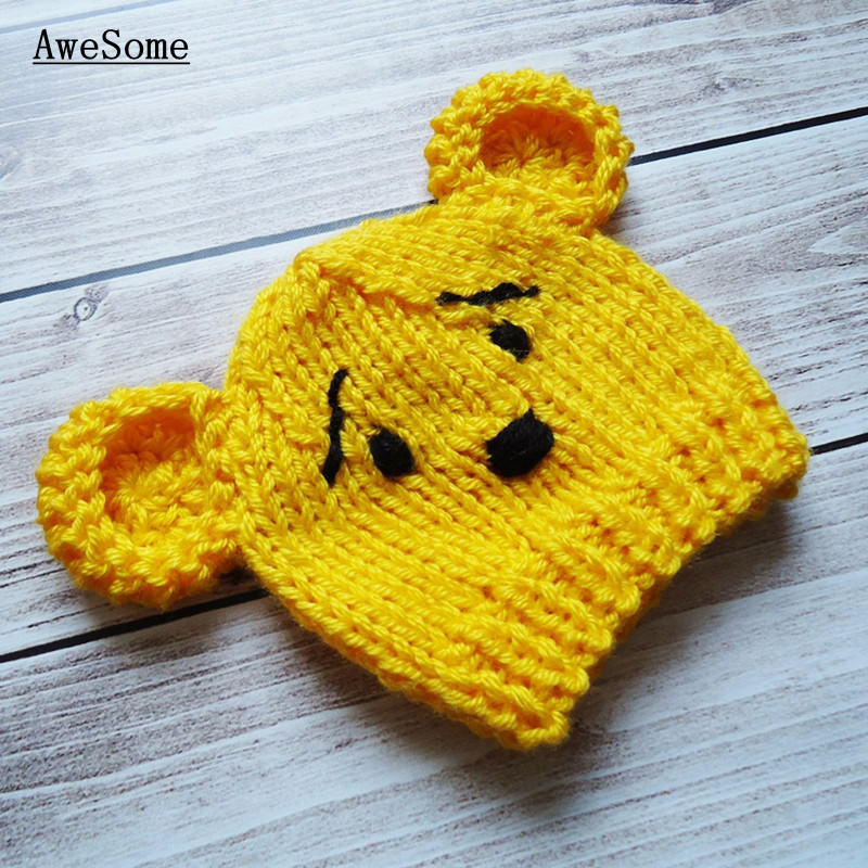 Best Gift Nice Winnie Bear Hat New Infant Cute Baby Girls Boys Toddler Photography Prop Knit Crochet Beanie Hat Cap Baby Costume(China (Mainland))