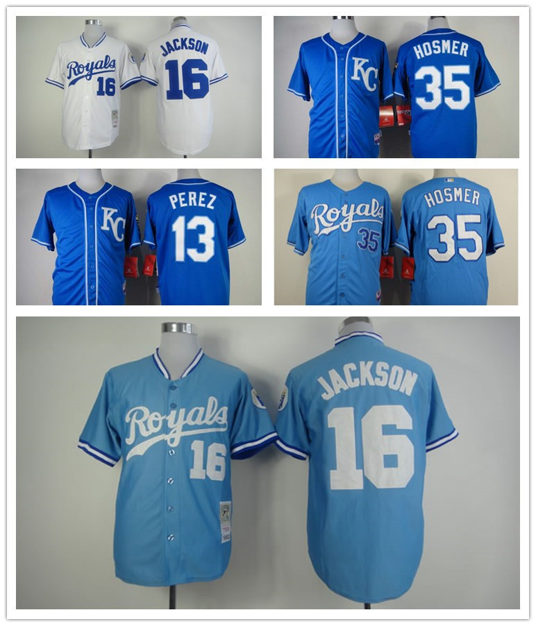 Best Quality Kansas city Royals jersey Stitched #13 Salvador Perez authentic #16 Bo Jackson jersey #35 Eric Hosmer size M-XXXL(China (Mainland))